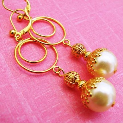 Filigree and glass-pearl earrings