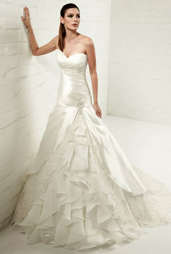 In The Market For A Wedding Gown That Combines Classic Silhouette With Just Hint Of Contemporary Edge One Shoulder Bodice Swirling Pleats