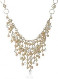 Pearl and Crystal Bridal Bib Necklace
