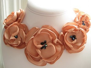 Peach Fabric Flower Bridal Necklace