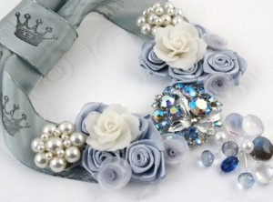 Chunky Blue and White Bridal Necklace