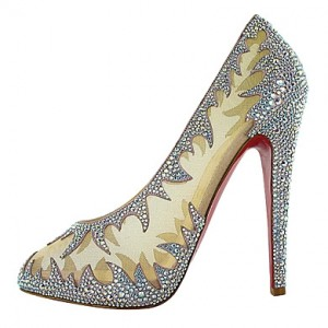 Swarovski Crystal AB Strass Open Toe High Heel Platform Pumps Womens Shoes