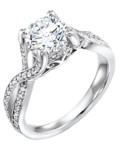 Art Carved Diamond Engagement Ring
