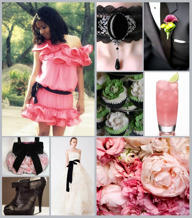 Pink Black Green Wedding Inspiration Board ~ Houston Wedding Blog