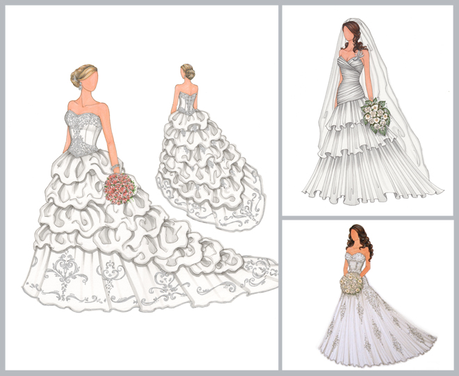 A Custom Illustration of Your Bridal Gown