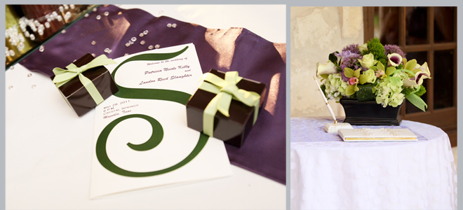 Wedding Guest Book Table, Invitations and Favor Boxes by Pedigo Photography