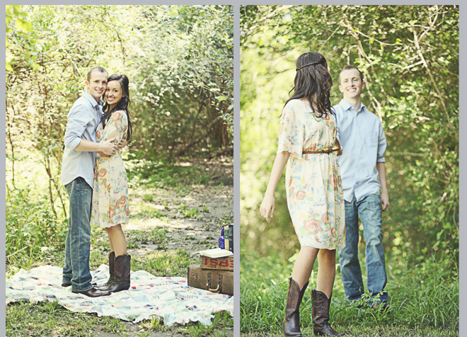 Vintage Picnic & Cupcakes Engagement Shoot by The Girls