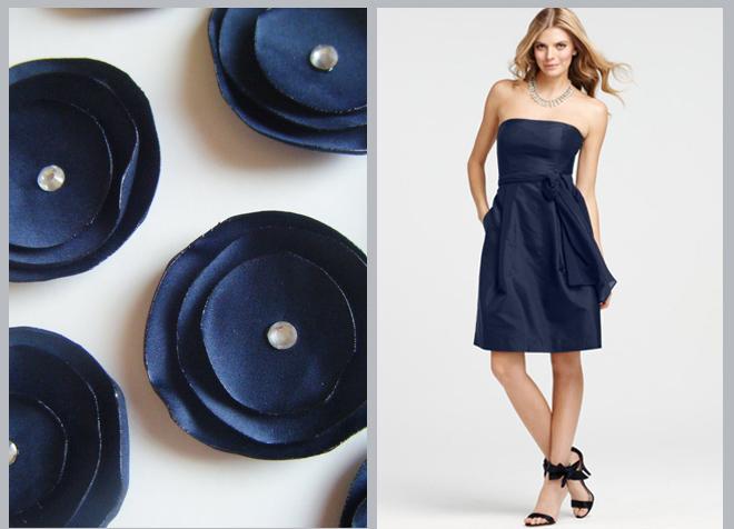 Navy Bridesmaids Dress and Table Decor