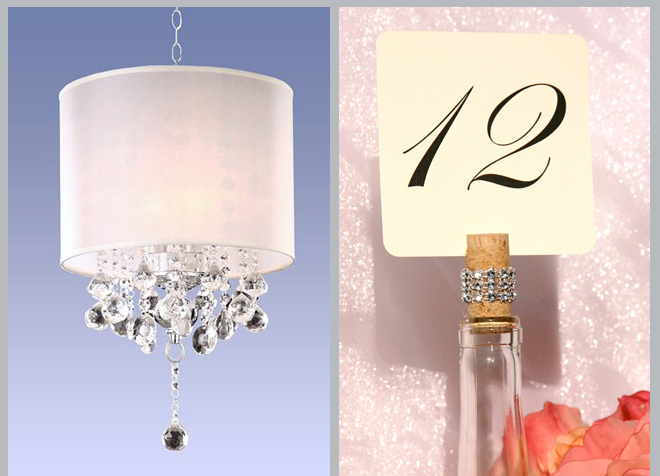 Crystal Silver Mist Chandelier and Crystal Wine Cork Place Card Holder