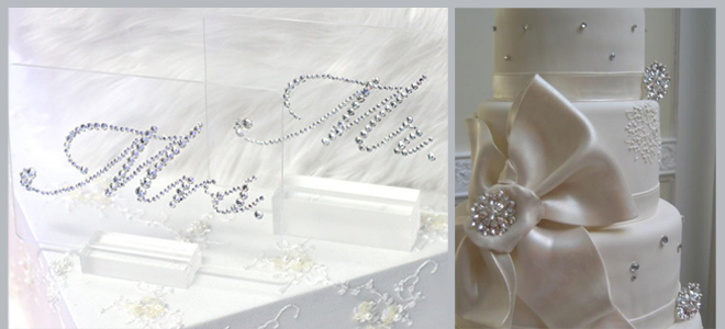 Crystal Mr. & Mrs. Place Cards and Snowflakes Wedding Cake