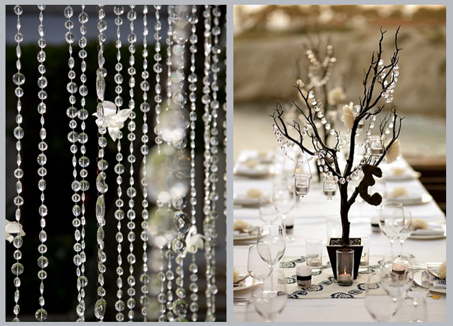 Hanging Crystal Curtain and Crystal Tree Wedding Centerpiece