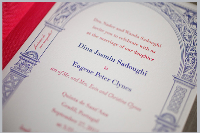 Navy and Red Wedding Invitation