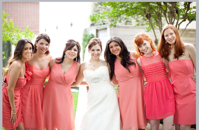 bridesmaids, dress color coral