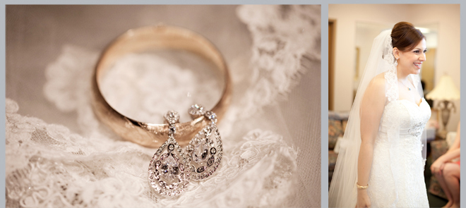 earrings, ring, bride prep