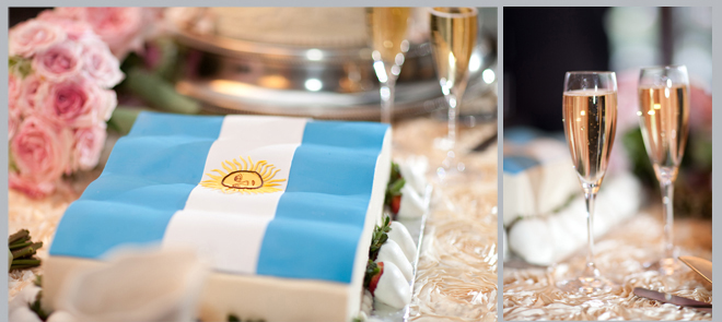 creative grooms cake, flag, champagne flutes
