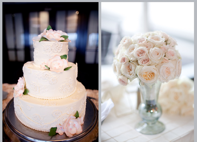 elegant wedding cake, pink center piece
