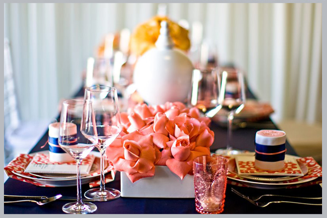 Navy, Coral and Yellow Table Decor