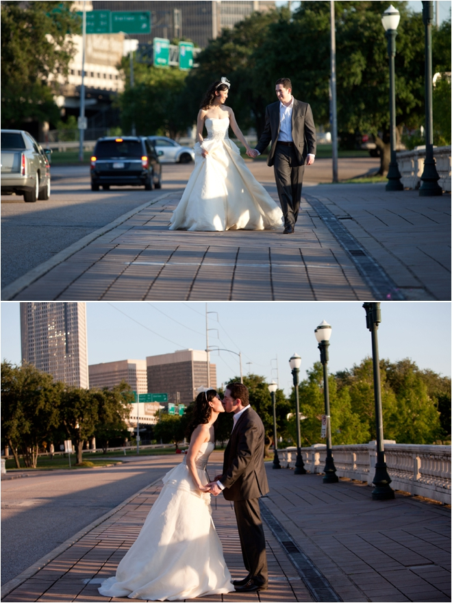 Bride and Groom walking across city bridge