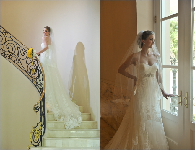 bridal portraits on stairs and by window