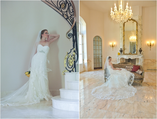bridal portraits standing and sitting
