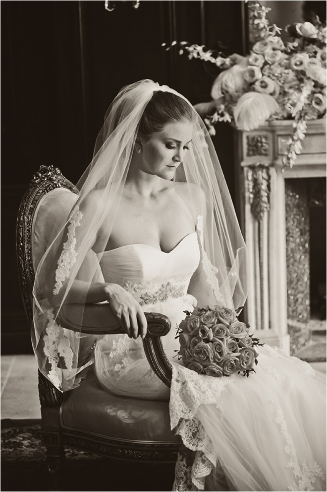 black and white sitting bridal portrait