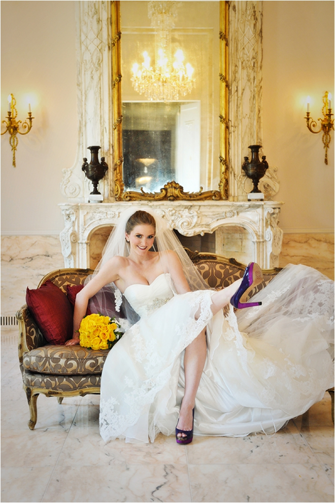 bridal vignette with purple shoes