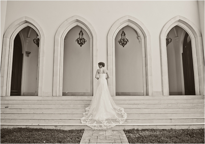 Bridal portrait outside on stairs