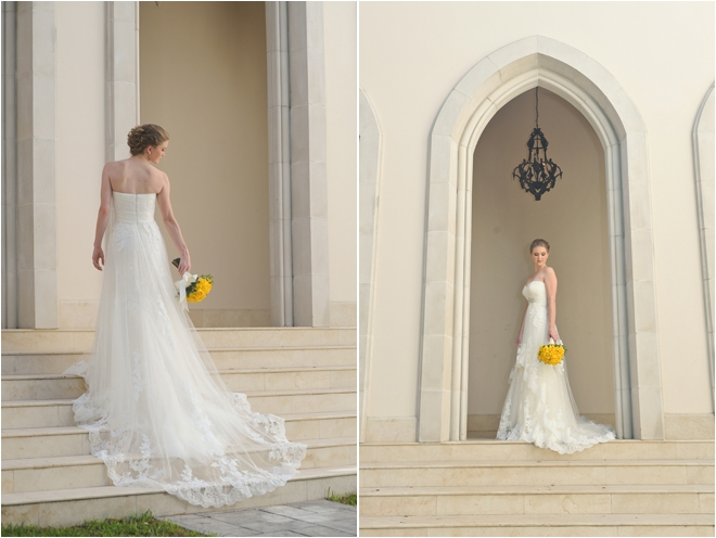 bridal portraits outside on stairs with bouquet
