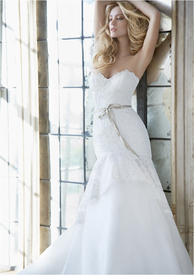 Hayley Paige strapless wedding gown