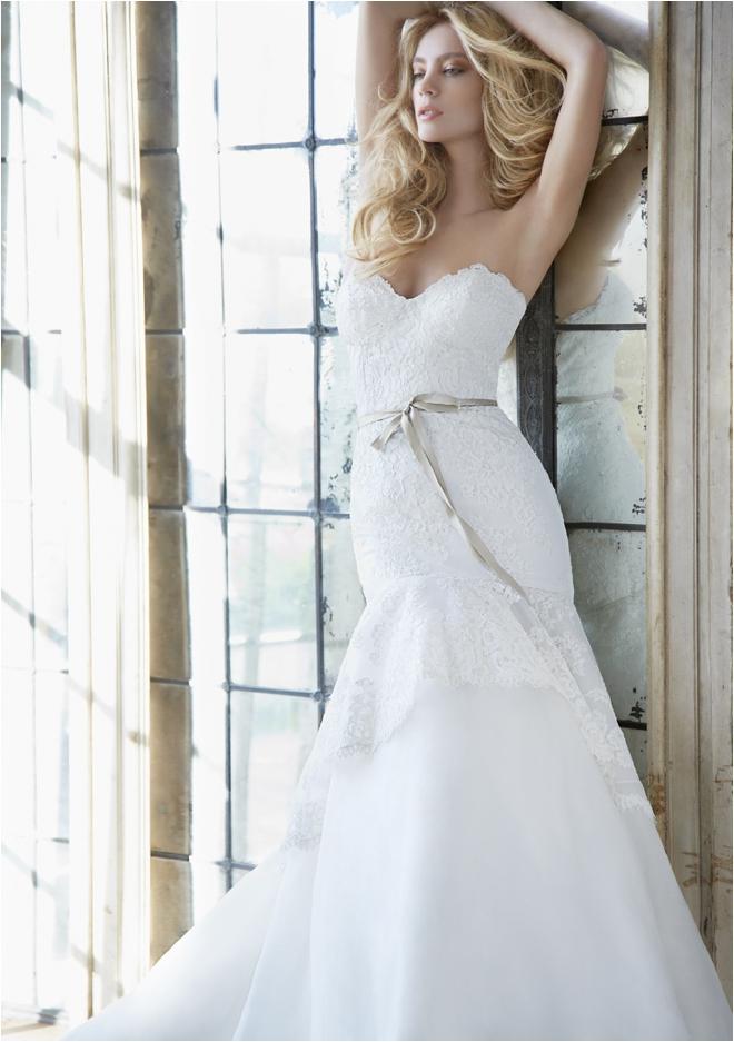 Hayley Paige strapless wedding gown