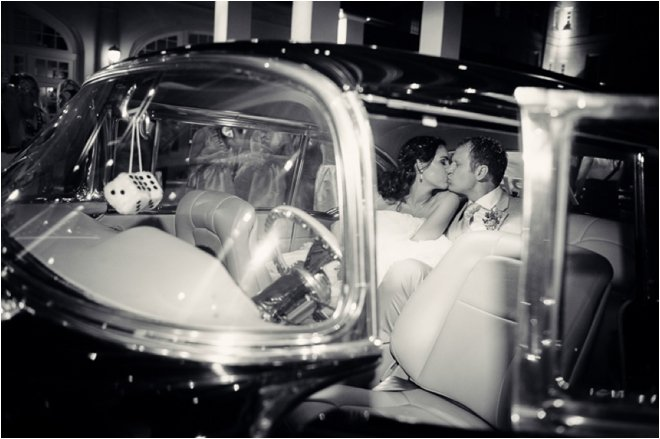 Bride and Groom departing in car