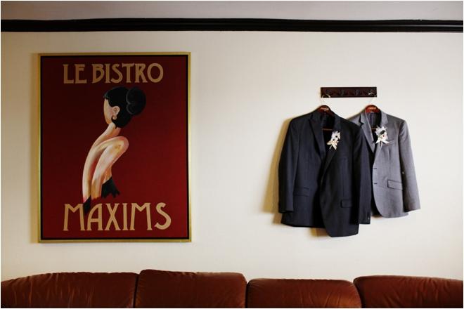 Grooms hanging suit