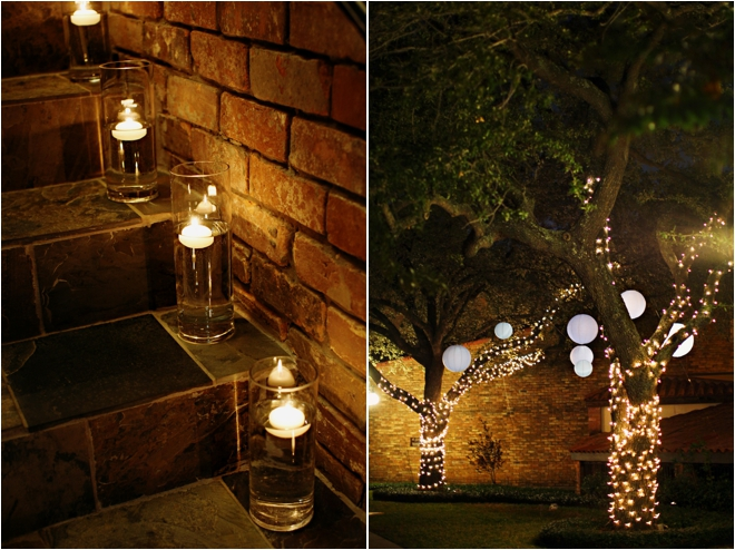 Outdoor evening venue decorations