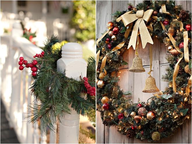 outdoor Christmas wedding decor