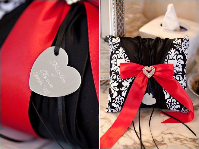 Black, red and white ring pillow
