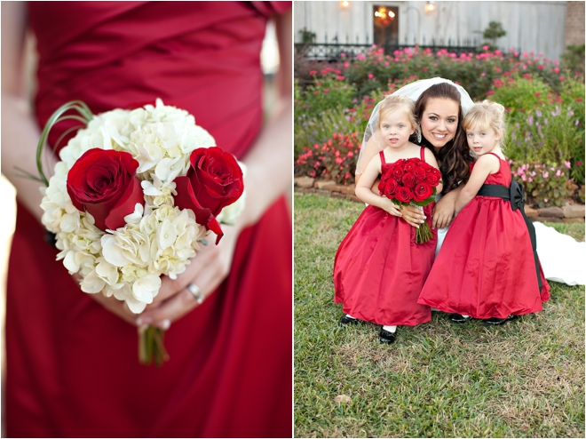 Bridesmaid bouquet and bride with flower girls