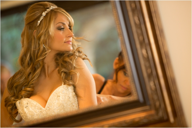 Bridal portrait in mirror