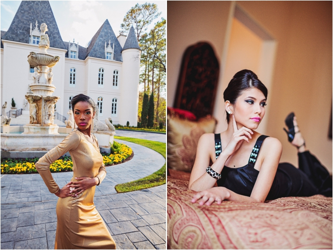 Chateau-Cocomar-black-dress-bed-gold-dress-outside