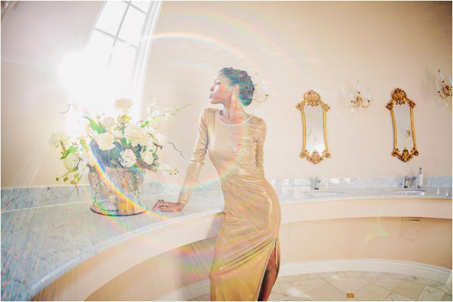 Chateau-Cocomar-gold-dress-bathroom-window