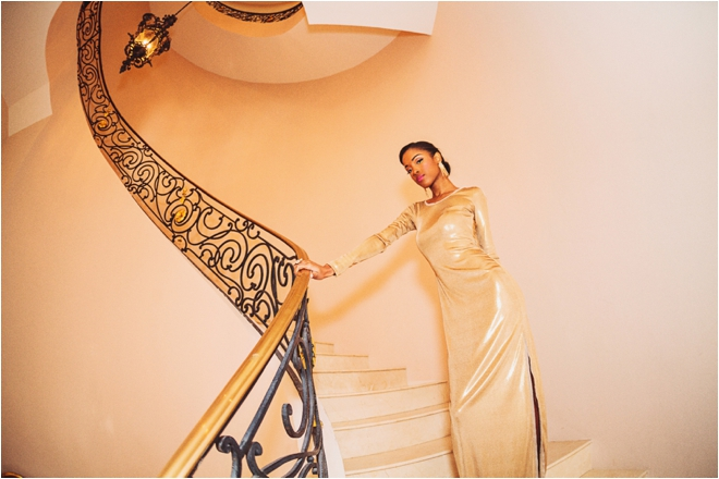 Chateau-Cocomar-gold-dress-spiral-staircase