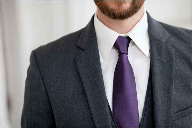the gallery for gt grey three piece suit purple tie