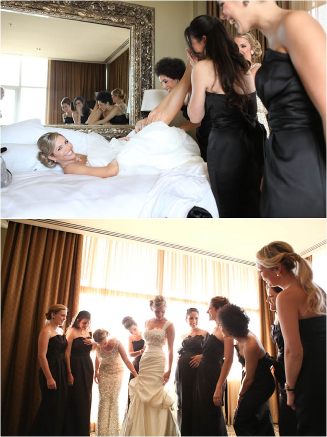High-Glamour Black-and-Silver Hotel ZaZa Wedding