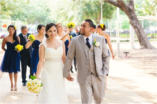 Navy, Gray and Yellow Spring Wedding with Outdoor Ceremony at The Grove