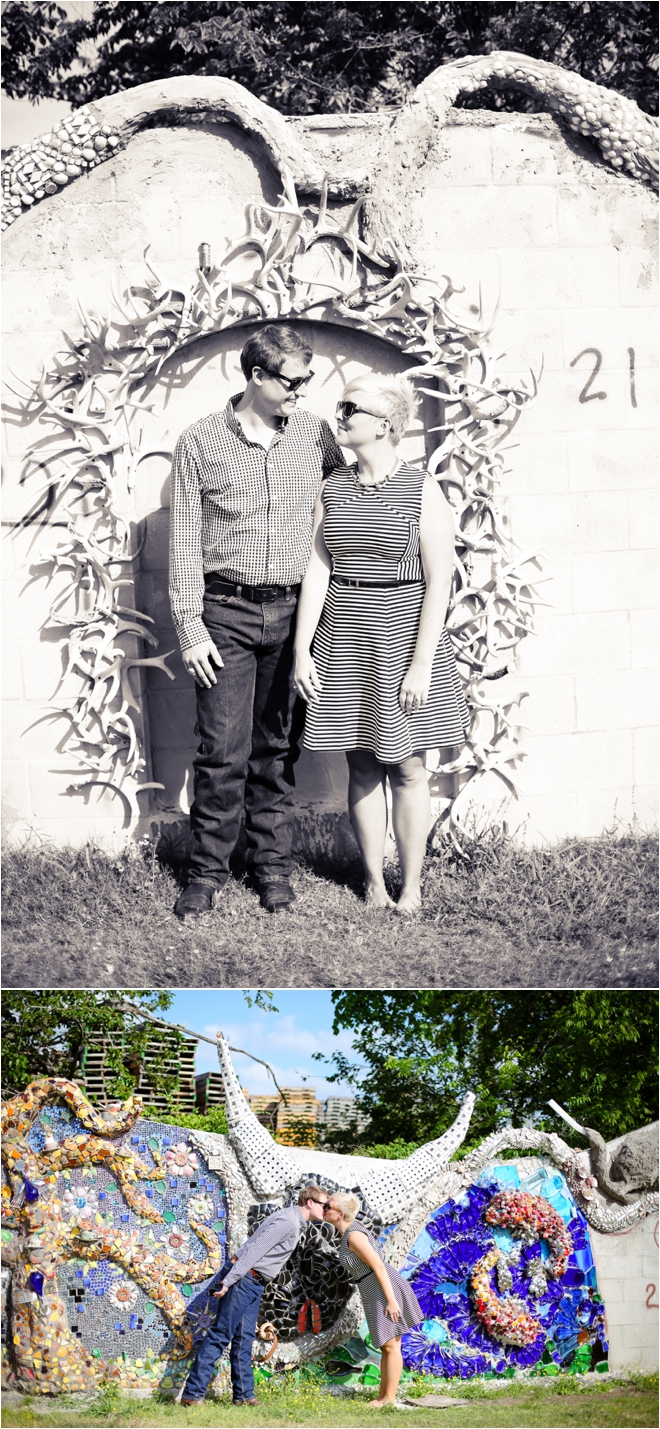 Hip and Adorable Orange Show and Menil Collection Engagement Shoot
