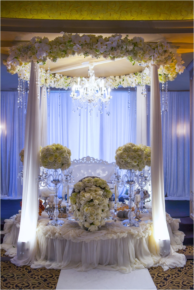 Floral and white persian wedding alter for American wedding decoration ideas