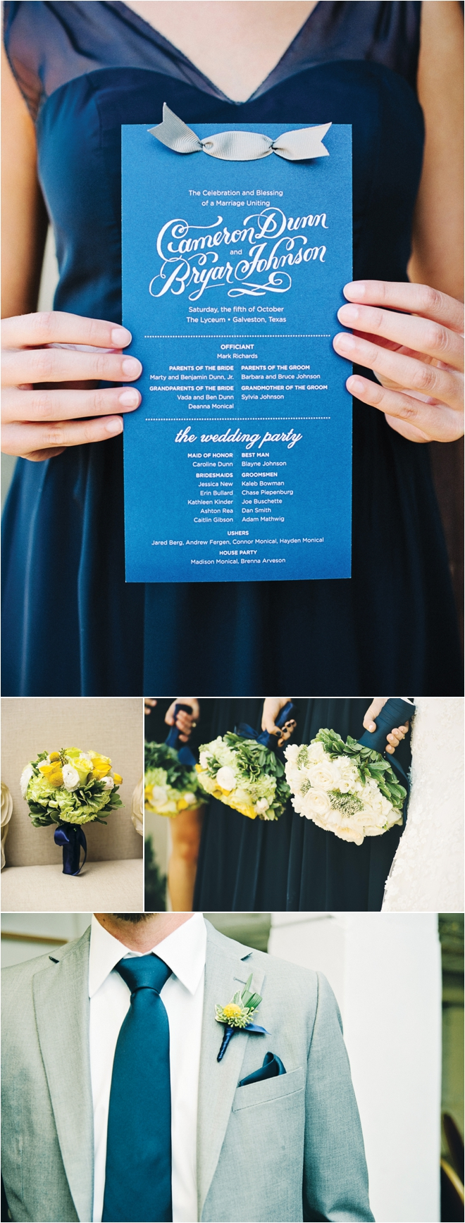 Blue, Yellow and Gray Wedding at the Tremont House by Adam Nyholt Photographer