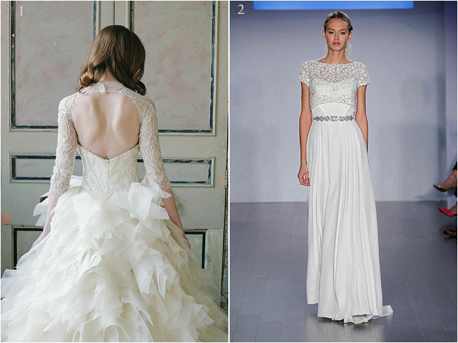 Lace Embroidered Long Sleeve and Cap Sleeve Bridal Gowns
