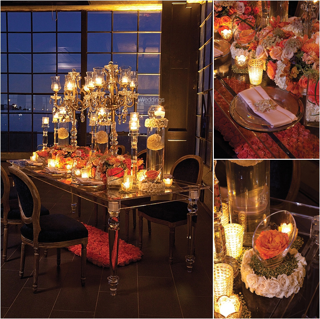 Romantic Candlelit Tablescapes with Rose Centerpieces and Rose Flower Balls