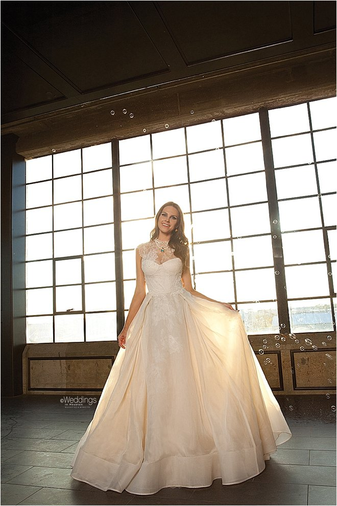 High Lace Neck Line Gown with Flowing Skirt