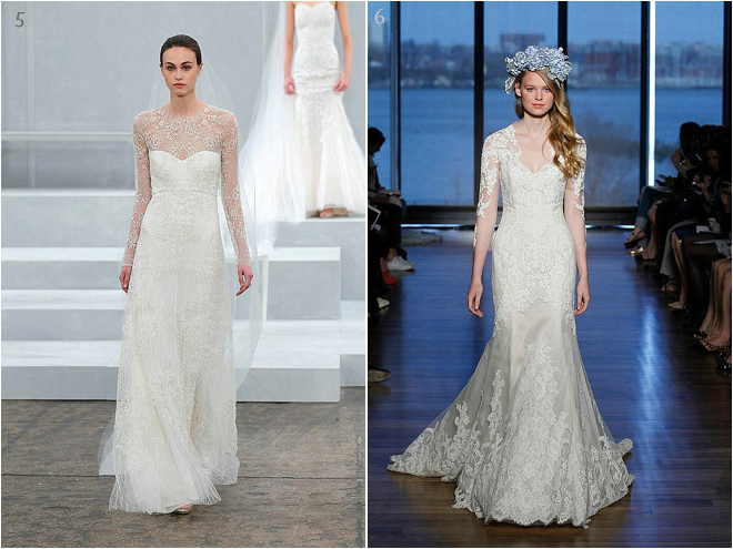Sheer Lace Detailed Long Sleeved Bridal Gowns